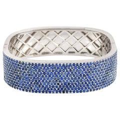 15.17 Carat Blue Sapphire Square Bangle Bracelet