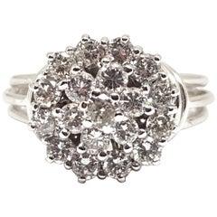 1.52 Carat 18 Karat White Gold Vintage Diamond Ring