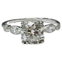 1.52 Carat Diamond and Platinum Engagement Ring, GIA Certified Antique Diamond