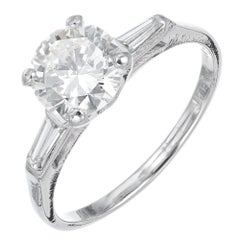 1.52 Carat Diamond Three-Stone Platinum Engagement Ring