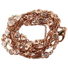 1.52 Carat Diamonds Eternity Station by Yard Double Wrap Necklace 14 Karat G/VS