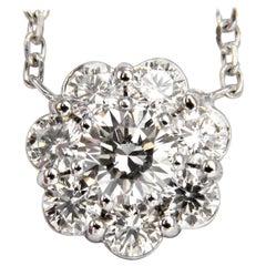 1.52 Carat Diamonds Halo Cluster Necklace 14 Karat