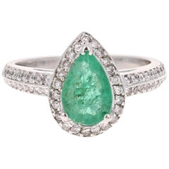 1.52 Carat Emerald Diamond White Gold Engagement Ring