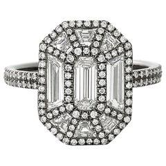 Eva Fehren 1.52 Carat Exploding Emerald Ring in Blackened Platinum