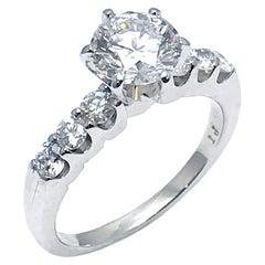 1.52 Carat F/IF Round Brilliant Diamond with 0.60 Carat Platinum Engagement Ring