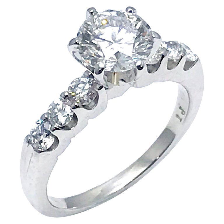 1.52 Carat F/IF Round Brilliant Diamond with 0.60 Carat Platinum Engagement Ring For Sale