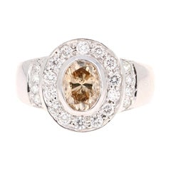 1.52 Carat Fancy Natural Champagne Diamond 14 Karat White Gold Ring