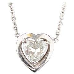 1.52 Carat Heart Shaped Diamond Pendant in 18 Karat White Gold