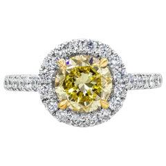 1.52 Carat Intense Yellow Diamond Halo Engagement Ring
