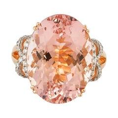 15.2 Carat Morganite and Diamond Ring in 18 Karat Rose Gold