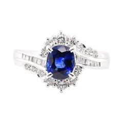 1.52 Carat, Natural Blue Sapphire and Diamond Ring Set in Platinum