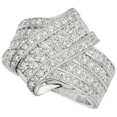 1.52 Carat Natural Diamond Cocktail Ring G SI 14 Karat White Gold