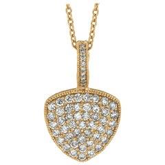 1.52 Carat Natural Diamond Necklace 14 Karat Yellow Gold G SI Chain