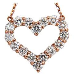 1.52 Carat Natural Diamonds Heart Necklace 14 Karat Rose Gold G/VS