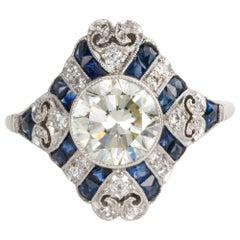 1.52 Carat Old European Cut Diamond and Sapphire Art Deco Inspired Ring