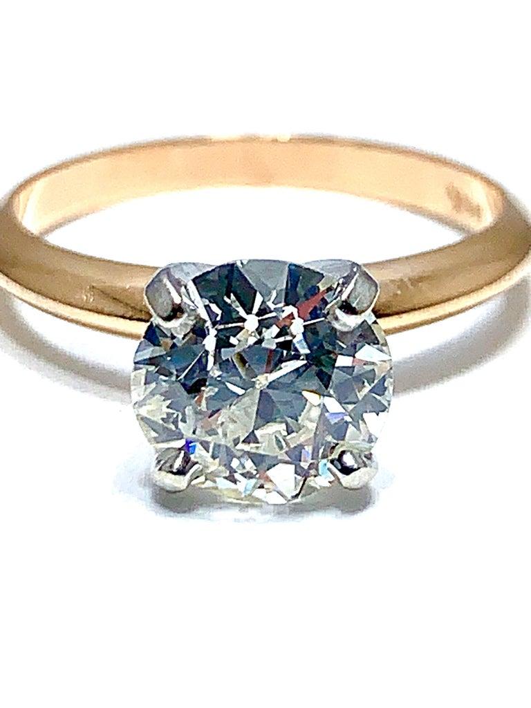 Art Deco 1.52 Carat Old European Cut Diamond Platinum and Rose Gold Solitaire Ring For Sale