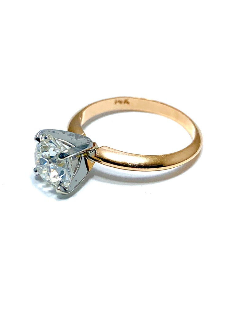 1.52 Carat Old European Cut Diamond Platinum and Rose Gold Solitaire Ring In Excellent Condition For Sale In Washington, DC