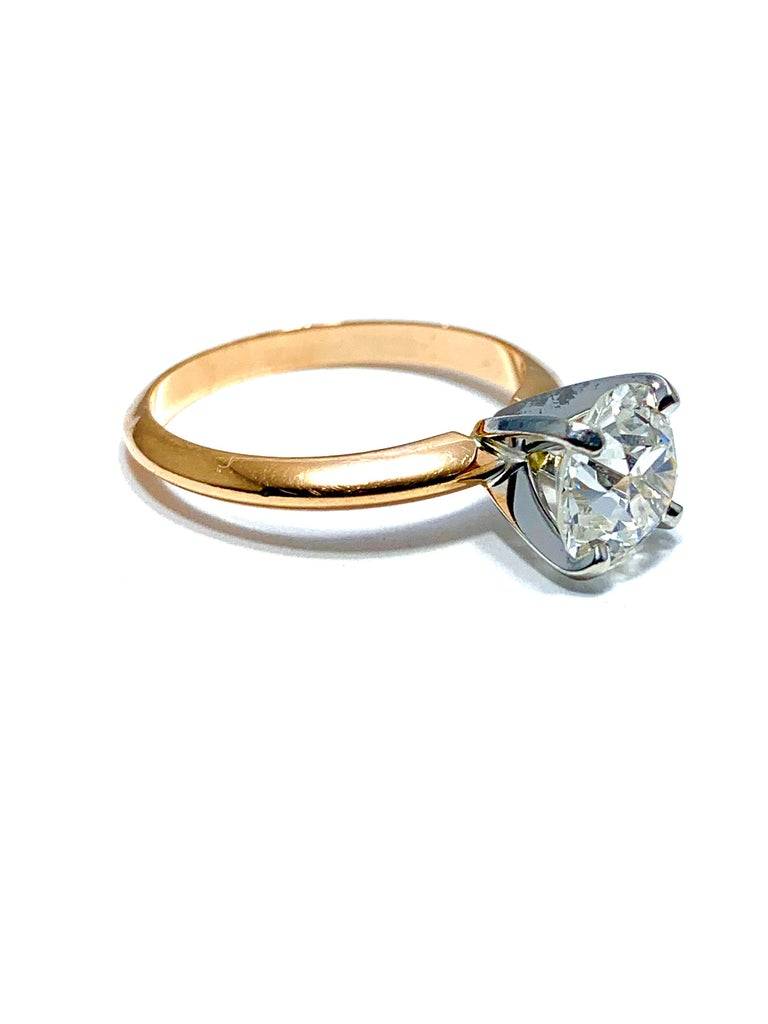 Women's or Men's 1.52 Carat Old European Cut Diamond Platinum and Rose Gold Solitaire Ring For Sale