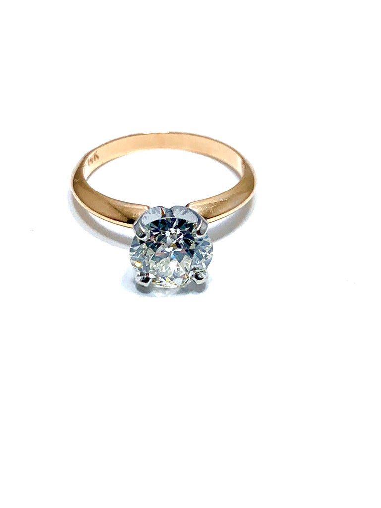 1.52 Carat Old European Cut Diamond Platinum and Rose Gold Solitaire Ring For Sale 1