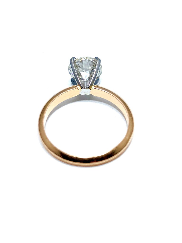 1.52 Carat Old European Cut Diamond Platinum and Rose Gold Solitaire Ring For Sale 2