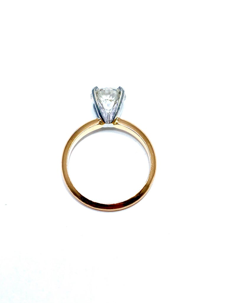 1.52 Carat Old European Cut Diamond Platinum and Rose Gold Solitaire Ring For Sale 3