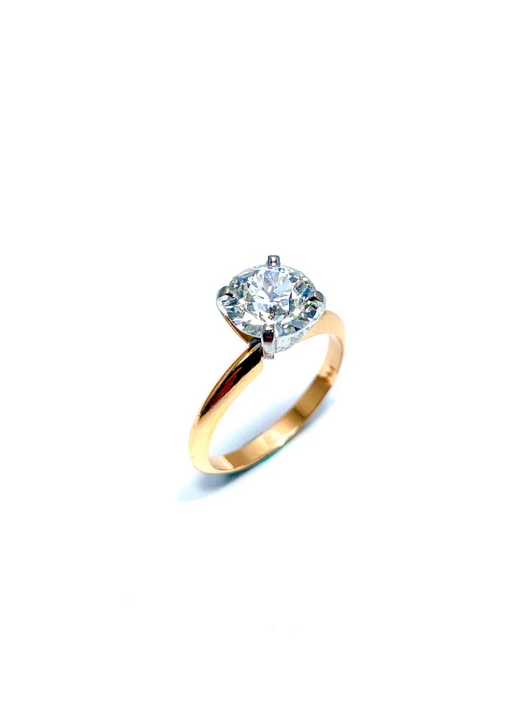1.52 Carat Old European Cut Diamond Platinum and Rose Gold Solitaire Ring For Sale 4