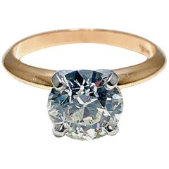 1.52 Carat Old European Cut Diamond Platinum and Rose Gold Solitaire Ring