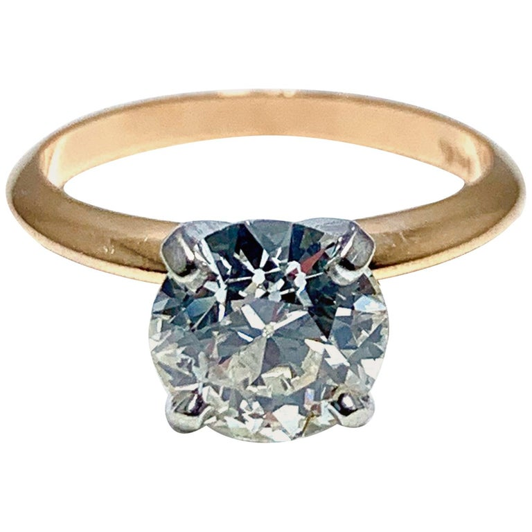 1.52 Carat Old European Cut Diamond Platinum and Rose Gold Solitaire Ring For Sale