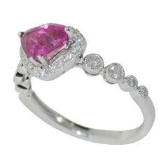 1.52 Carat Ruby and Diamond Ladies Ring, 18 Karat Gold