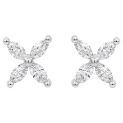1.52 Carat Total Marquise Cut Diamond Stud Earrings