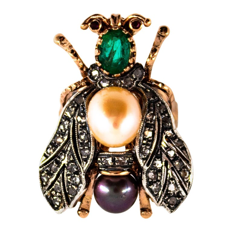 """1.52 Carat White Diamond Emerald Ruby Pearl Yellow Gold Cocktail """"Cicada"""" Ring For Sale"""