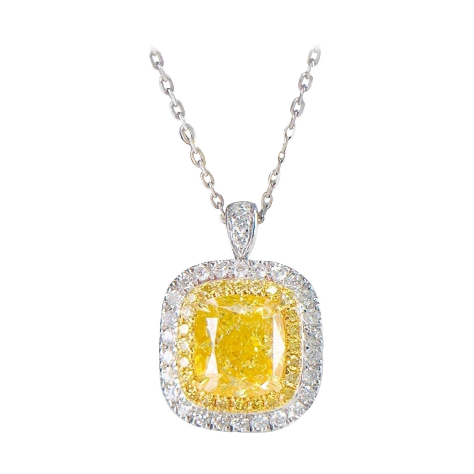 2 Carat Yellow Diamond Necklace 18k White Gold