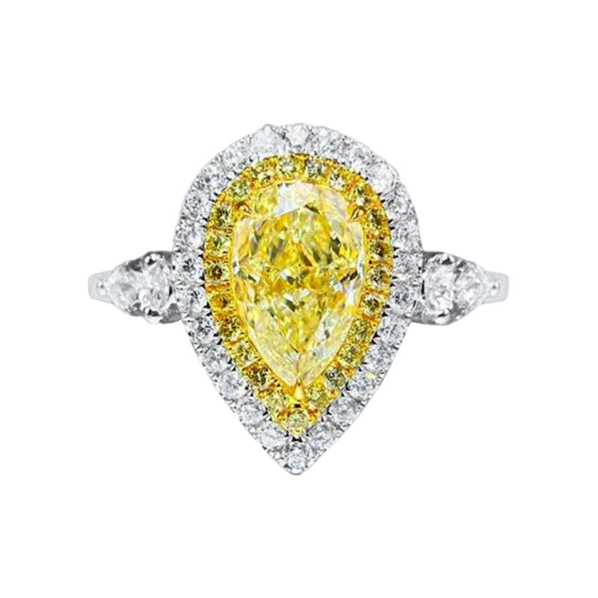 2 Carat Fancy Yellow Diamond Ring 18k White Gold