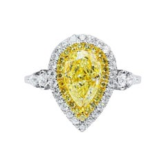 1.52 Ct Fancy Yellow Diamond Ring 18k White Gold
