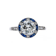 1.52 Diamond Sapphire Platinum Engagement Ring