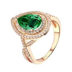 1.52 Emerald Diamond Ring 14 Karat Yellow Gold