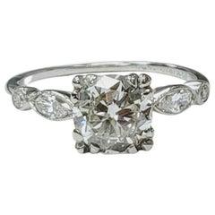 1.52 I Si1 Old European Cut Carat Diamond and Platinum Art Deco Diamond