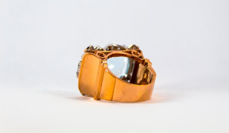 15.20 Carat Aquamarine 0.87 Carat White Diamond Yellow Gold Cocktail Ring For Sale 9