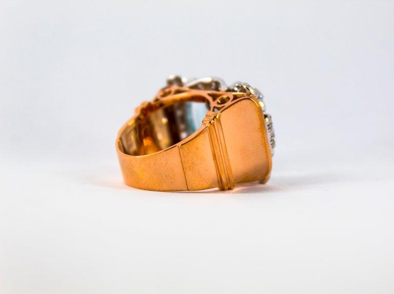 15.20 Carat Aquamarine 0.87 Carat White Diamond Yellow Gold Cocktail Ring For Sale 11