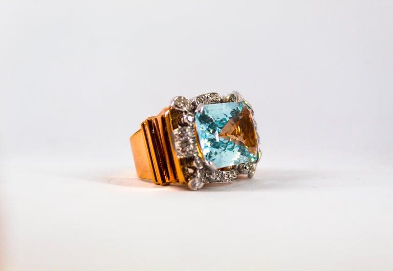15.20 Carat Aquamarine 0.87 Carat White Diamond Yellow Gold Cocktail Ring For Sale 13