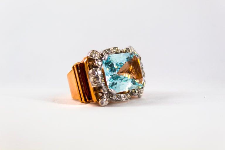 15.20 Carat Aquamarine 0.87 Carat White Diamond Yellow Gold Cocktail Ring For Sale 14