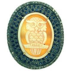 15.20 Carat Diamond, 1.40 Carat Sapphire, Owl Cameo Sterling Silver 14K Gold