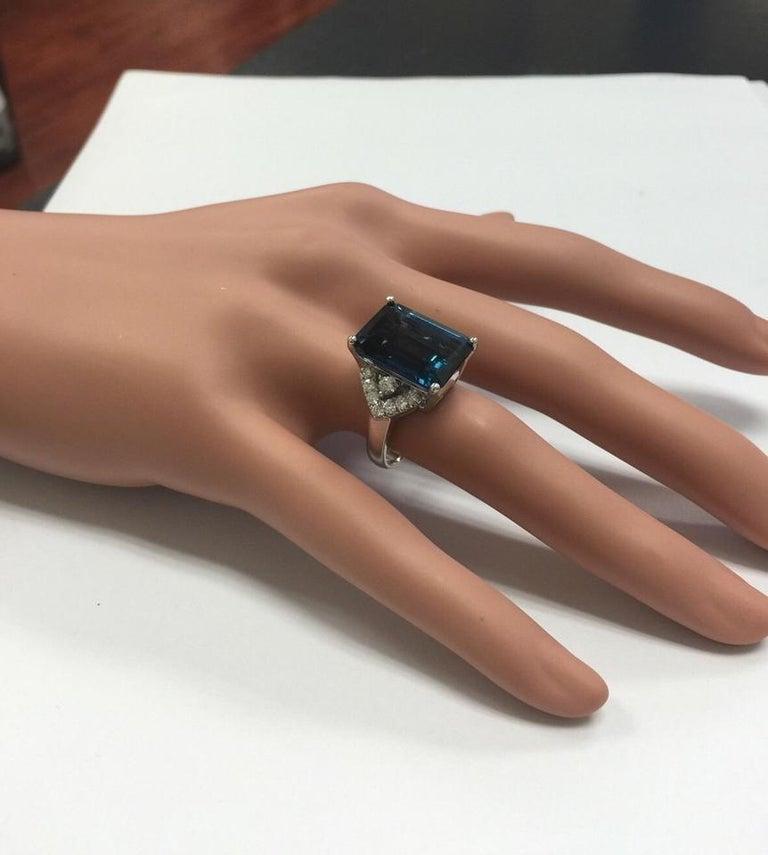 15.20 Carat Natural Impressive London Blue Topaz and Diamond 14K White Gold Ring For Sale 2
