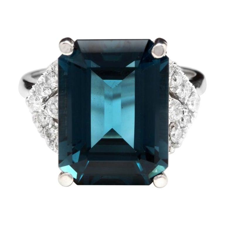 15.20 Carat Natural Impressive London Blue Topaz and Diamond 14K White Gold Ring For Sale