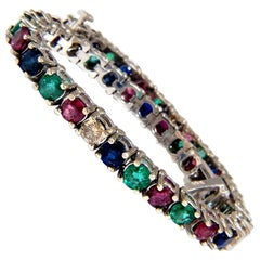 15.20ct natural ruby emerald sapphires diamond diamond tennis bracelet 14kt