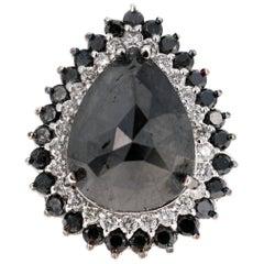 15.21 Carat Black and White Diamond 14 Karat White Gold Cocktail Ring