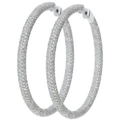15.22 Carat White GVS Diamonds 18 Karat White Gold Big Hoop Pavé Earrings