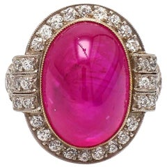 15.25 Carat Oval Cabochon Cut, Pink-Red Ruby Ring, AGL Certified