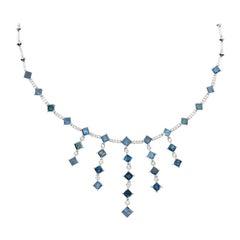 15.26 Carat White Diamond and Treated Blue Diamond Necklace