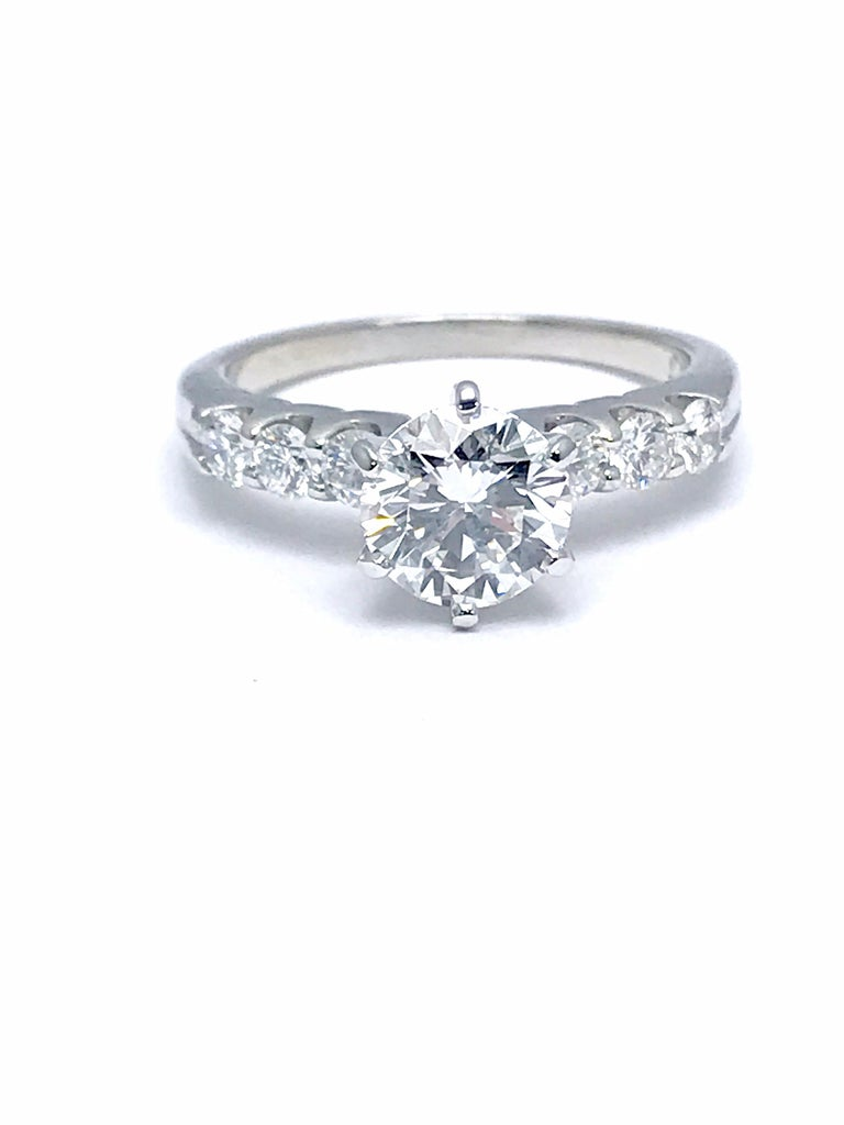 Modern 1.52 Carat F/IF Round Brilliant Diamond with 0.60 Carat Platinum Engagement Ring For Sale